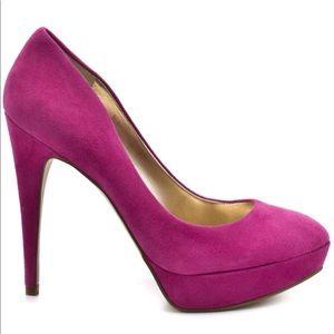 GUESS Osten Pink Suede Platform Heels Shoes 7